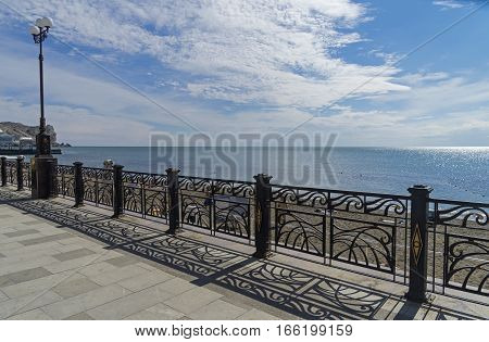 Sea view from the promenade of the resort town of Sudak Crimea.