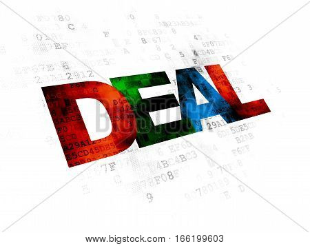 Finance concept: Pixelated multicolor text Deal on Digital background