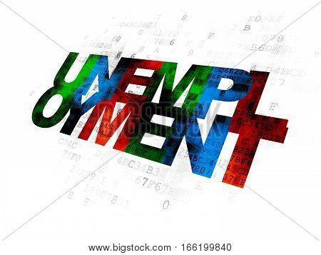 Finance concept: Pixelated multicolor text Unemployment on Digital background