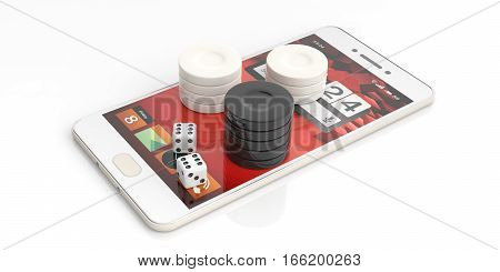 Backgammon chips on a smartphone on white background. 3d illustration