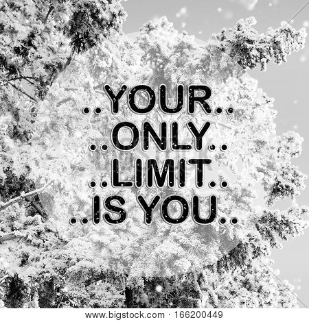 Your only limit is you words on winter background
