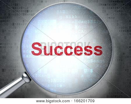 Finance concept: magnifying optical glass with words Success on digital background, 3D rendering