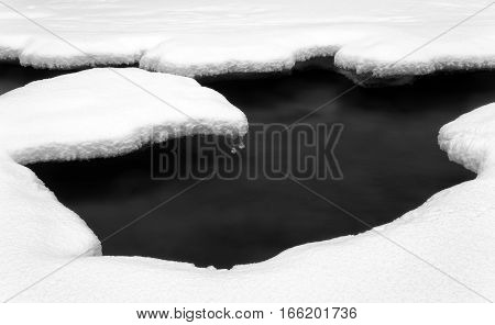 Long exposure water and snow. Black and white art photography