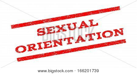 Sexual Orientation watermark stamp. Text caption between parallel lines with grunge design style. Rubber seal stamp with unclean texture. Vector red color ink imprint on a white background.