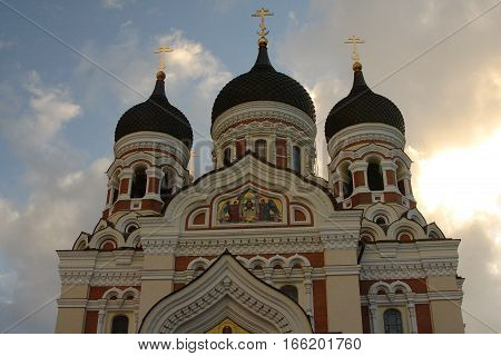Alexander Nevsky Cathedral bathed in early morning sunlight