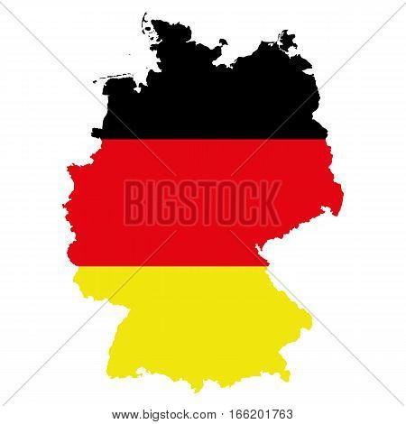 The Map Of Germany. The silhouette of the flag of Germany. Original abstract vector illustration.