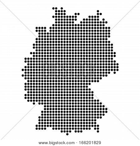 The Map Of Germany. Silhouette of Germany is made of round dots. Original abstract vector illustration.