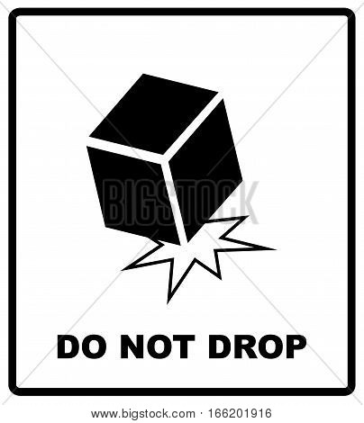 Packaging Symbols on Doodle Vector . Do not drop. Black box silhouette isolated on white. Vector illustration