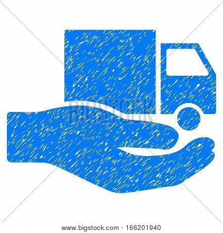 Delivery Service Hand grainy textured icon for overlay watermark stamps. Flat symbol with scratched texture. Dotted vector blue ink rubber seal stamp with grunge design on a white background.
