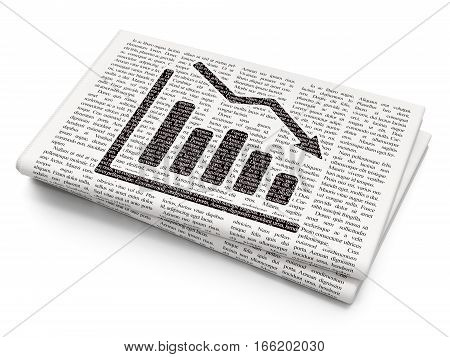 Finance concept: Pixelated black Decline Graph icon on Newspaper background, 3D rendering