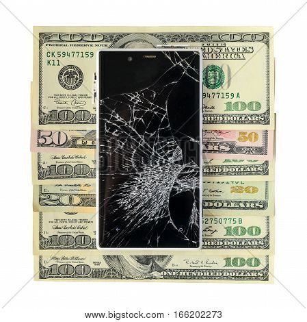 Smartphone with broken display lying on money banknotes Isolated on White background with cliping path. Need new smartphone concept