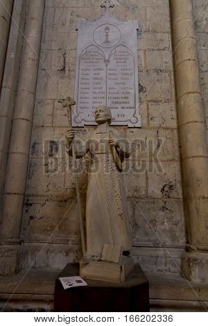 Poitiers France - September 12 2016 the figure of Saint Louis Montfort in the church the old church in Poitiers in France