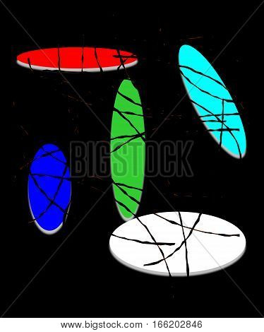 Abstract design composition on black background with color strokes and ellipses.