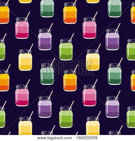Seamless pattern with colorful layered smoothies in mason jars with striped straws. Fresh healthy fruit and berry drinks.Vector seamless pattern for backgrounds, packaging, textile and other designs.