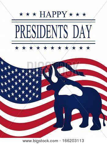 Presidents Day. Greeting card with symbols. vector illustrations