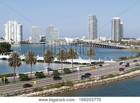 The road towards Miami South Beach (Florida).