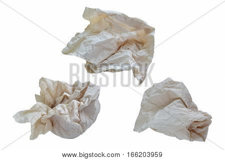 Piece paper napkin brown,  isolated on white background with clipping path.