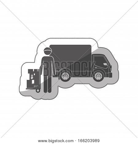 Silhouette sticker logistic assistant with shipping truck