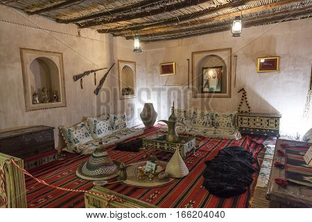 FUJAIRAH UAE - DEC 1 2016: Interior of an old bedouin home in the city of Fujairah United Arab Emirates Middle East
