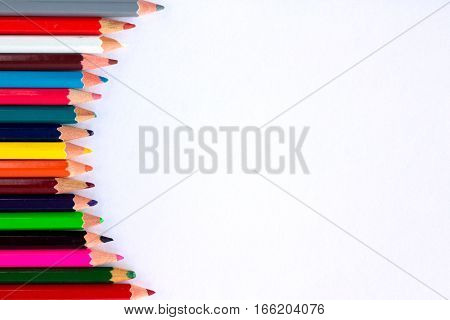 White Background For Presentation With Vertical Round Colourful Pencil Border