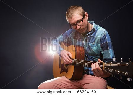 Guitarist Musician Guitar Acoustic Playing.