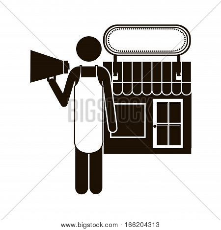 black silhouette shopkeeper with megaphone in store vector illustration