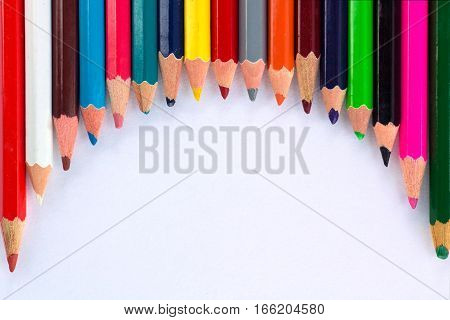 White Background For Presentation With Round Colourful Upper Pencils Border