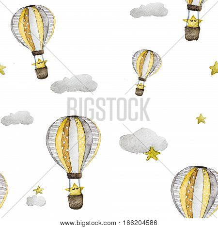Watercolor seamless pattern air balloon with star and clouds.