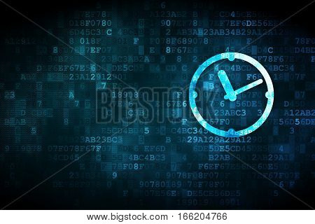 Time concept: pixelated Clock icon on digital background, empty copyspace for card, text, advertising