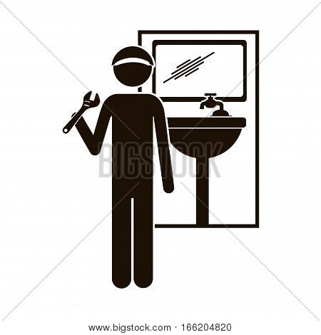 black silhouette plumber with spanner in bathroom vector illustration