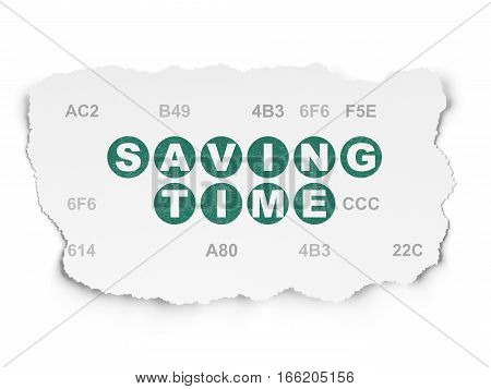 Timeline concept: Painted green text Saving Time on Torn Paper background with  Hexadecimal Code