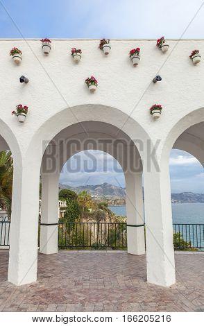 Balcony Of Europe whitewashed Arches, Nerja, Spain