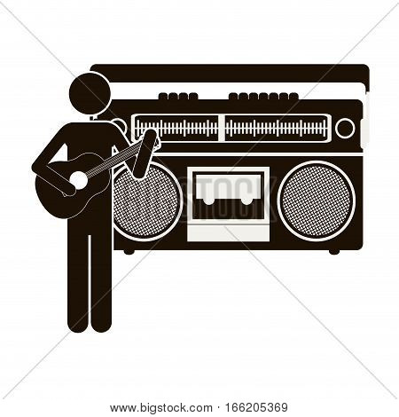 black silhouette guitar player with casset stereo recorder vector illustration