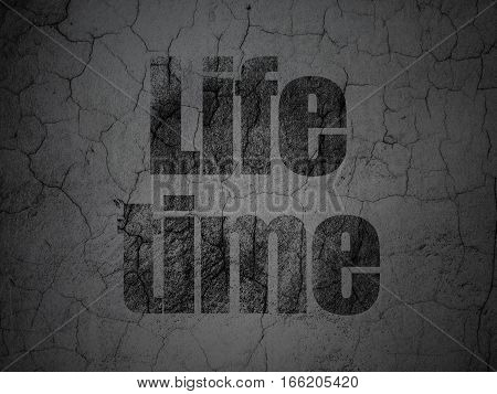 Time concept: Black Life Time on grunge textured concrete wall background
