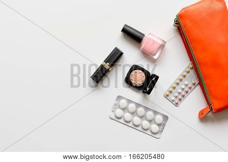 concept of female contraception and healthcare on white background close up