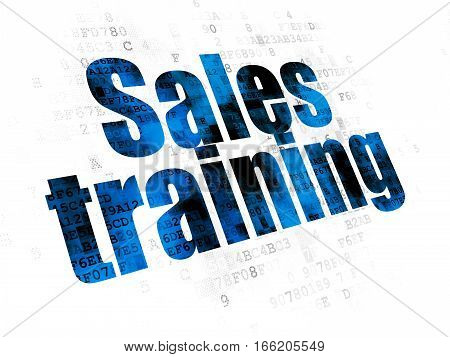Marketing concept: Pixelated blue text Sales Training on Digital background