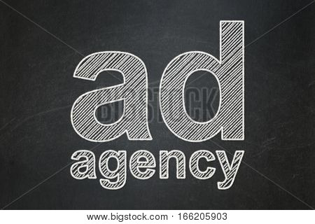 Marketing concept: text Ad Agency on Black chalkboard background
