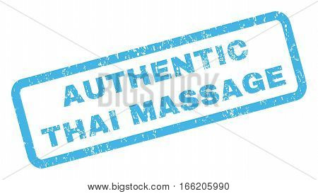 Authentic Thai Massage text rubber seal stamp watermark. Caption inside rectangular banner with grunge design and scratched texture. Inclined vector blue ink emblem on a white background.