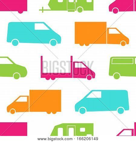 Retro truck seamless pattern. Vector illustration for cargo transport design. Bright vehicle pattern.Car wallpaper background. Cartoon silhouette shape. Transportation traffic auto delivery