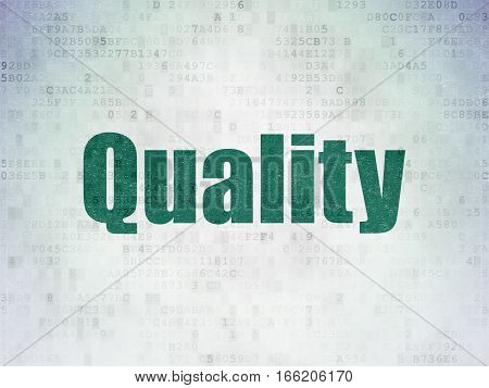 Advertising concept: Painted green word Quality on Digital Data Paper background