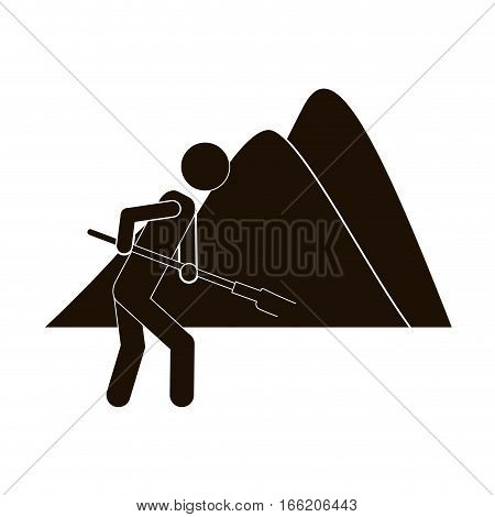 black silhouette farmer with mattock in the mountain vector illustration