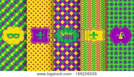 Bright abstract mardi gras pattern set. Vector illustration for holiday design. Carnival festival colorful bead backdrop, border, frame. Light yellow, green, purple color.