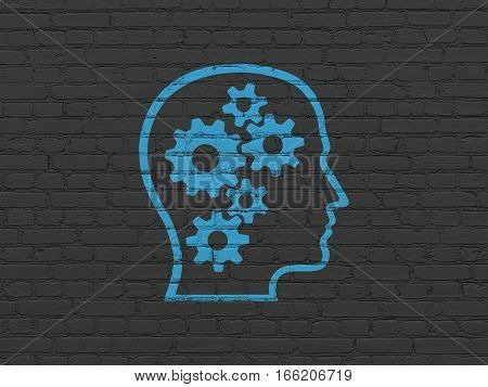 Advertising concept: Painted blue Head With Gears icon on Black Brick wall background