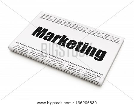 Advertising concept: newspaper headline Marketing on White background, 3D rendering