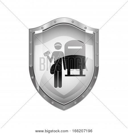 metallic shield of postman with mailbox vector illustration