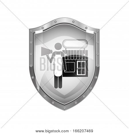 metallic shield of shopkeeper with megaphone in store vector illustration