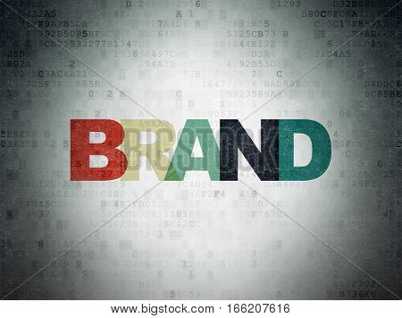 Marketing concept: Painted multicolor text Brand on Digital Data Paper background