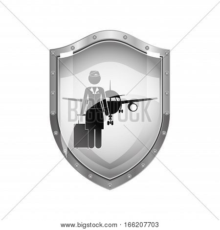 metallic shield of flight attendant and aeroplane vector illustration