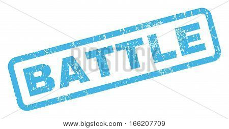 Battle text rubber seal stamp watermark. Caption inside rectangular banner with grunge design and dust texture. Inclined vector blue ink sticker on a white background.