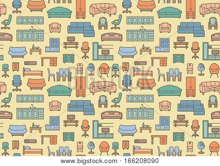 Furniture seamless pattern in retro style. Vector background